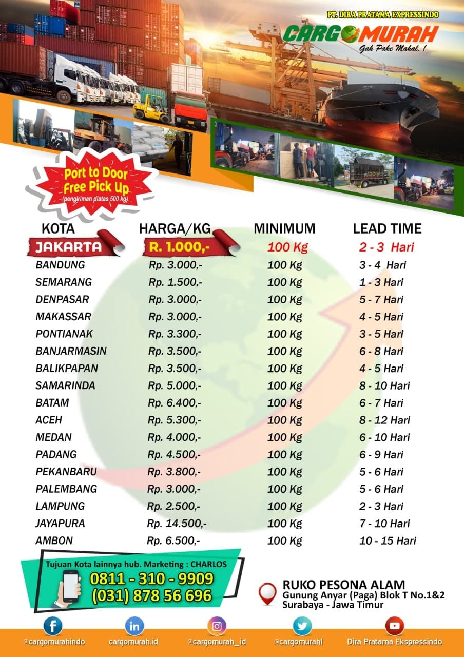 tarif cargo laut dari surabaya
